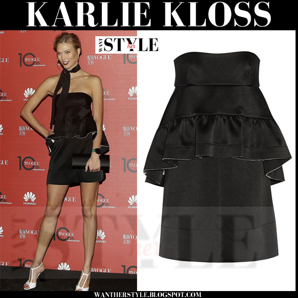 Karlie Kloss in black peplum Marni mini dress what she wore september 28 2015
