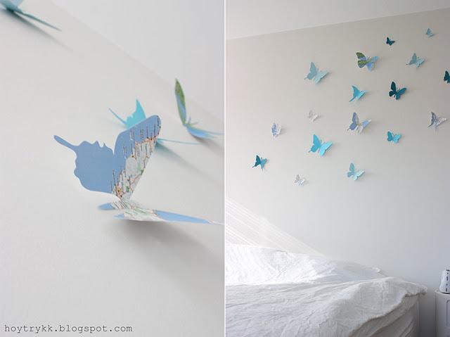 Mariposas hechas con mapas para decorar la pared - Mariposas para decorar ...
