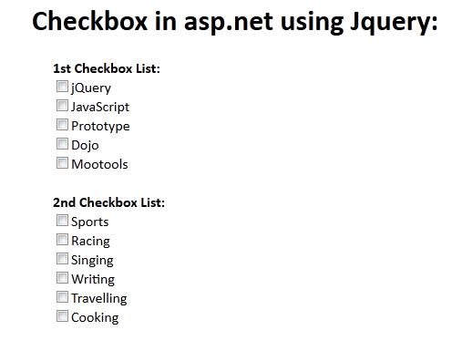 Get Asp.net CheckBoxList control values using Jqury: