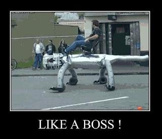 like a boss man riding robot