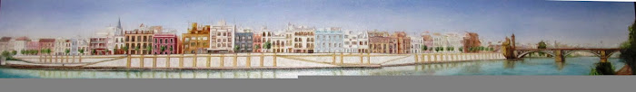 Sevilla. Panorámica de Triana, calle  Betis II. Oleo sobre lienzo de 2,30 x0,30 m.