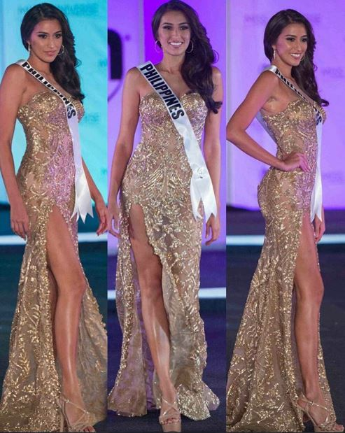 Rachel Peters wore a stunning gold gown by Val Taguba