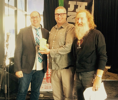 (L-R): Matt Cohen and Brent Neill, Advertising Association of Winnipeg; Jordan van Sewell, Heritage Winnipeg President.