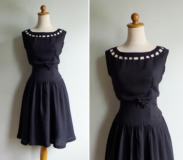 vintage cut out little black dress