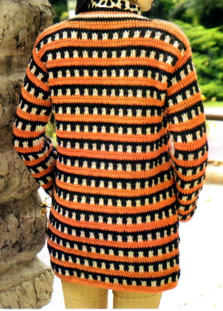 saco entramado tejido en crochet (espalda)