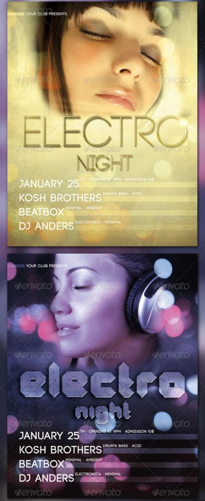 Electro Night Flyer PSD template 2 versions