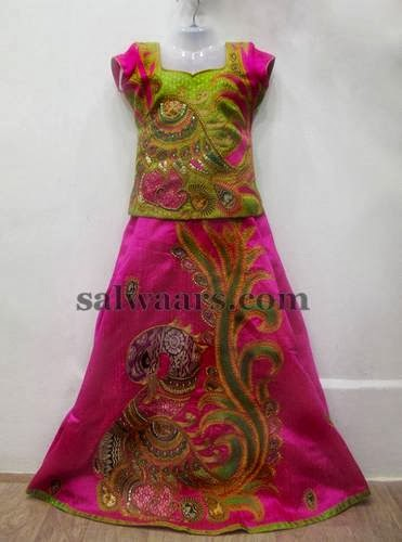 Pink and Green Kalamkari Lehenga