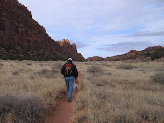 Scout and me hiking the Hidden Valley Trail in Moab