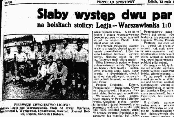 Opis derbowego pojedynku Legii z Warszawianką (Przegląd Sportowy 1934 r.)