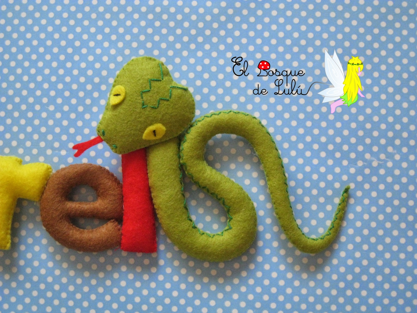 serpiente-fieltro-decoración-infantil-name-banner-regalo