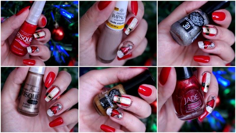 Como fazer a roupa e o gorro do Papai Noel nas unhas