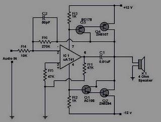 Hi Fi Power Amplifier 12 Volt Circuit