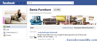 a dissatisfied dania furniture shopper posts on their facebook page and gets ignored