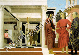 Piero's Flagellation is one of the most enigmatic paintings in the history of art. Numerous theories have been put forward to explain the three mysterious figures in the foreground, but none has met with universal acceptance. There is agreement, however, that this radiant work is one of the most beautiful paintings of the Renaissance.
