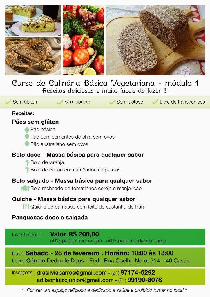 Teresópolis com o Curso de Alimentação vegetariana sem glúten, sem açúcar, sem lactose e livre de transgênicos