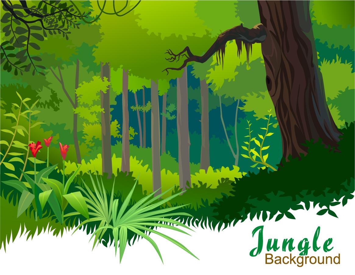 草木が繁るジャングルの背景 jungle background イラスト素材