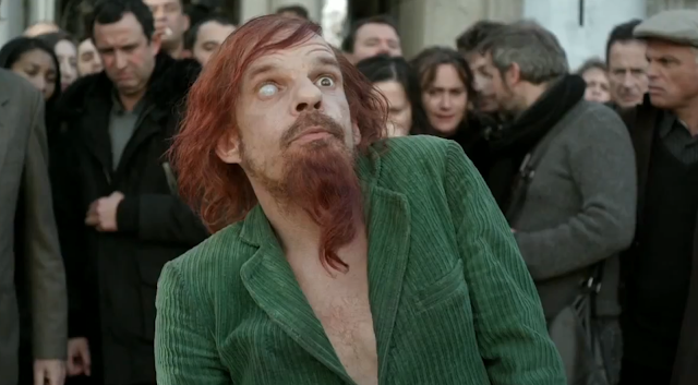 Denis Lavant with one eye in Holy Motors
