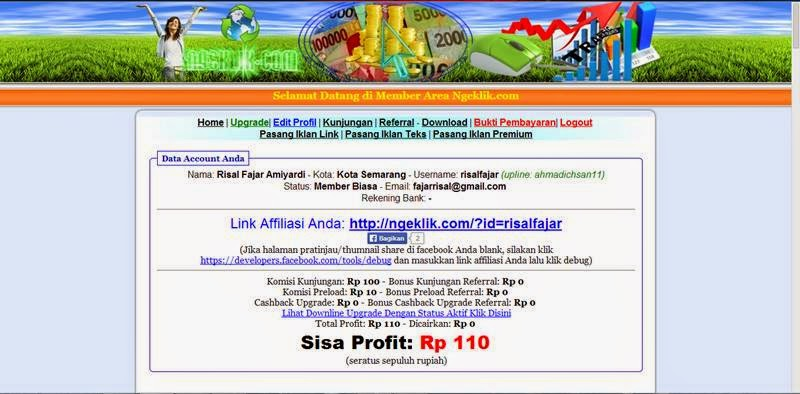 Dapat Uang Dengan Klik Link di Ngeklik.com
