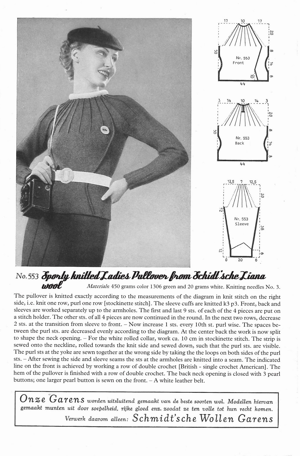 Free 1930s Sporty Pullover Knitting Pattern