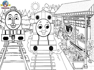 Joyful Easter coloring pictures of Gordon and Thomas the train characters at Easter gift basket shop