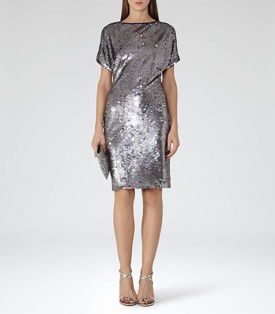reiss teresa dress, reiss silver sequin dress,
