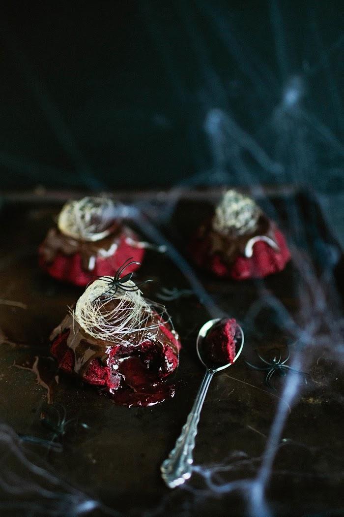 Brittany Wood, Halloween dessert, molten lava cakes, red velvet cake, Halloween, Halloween party