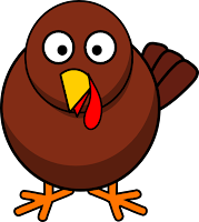 picture of a cartoon turkey with a round body