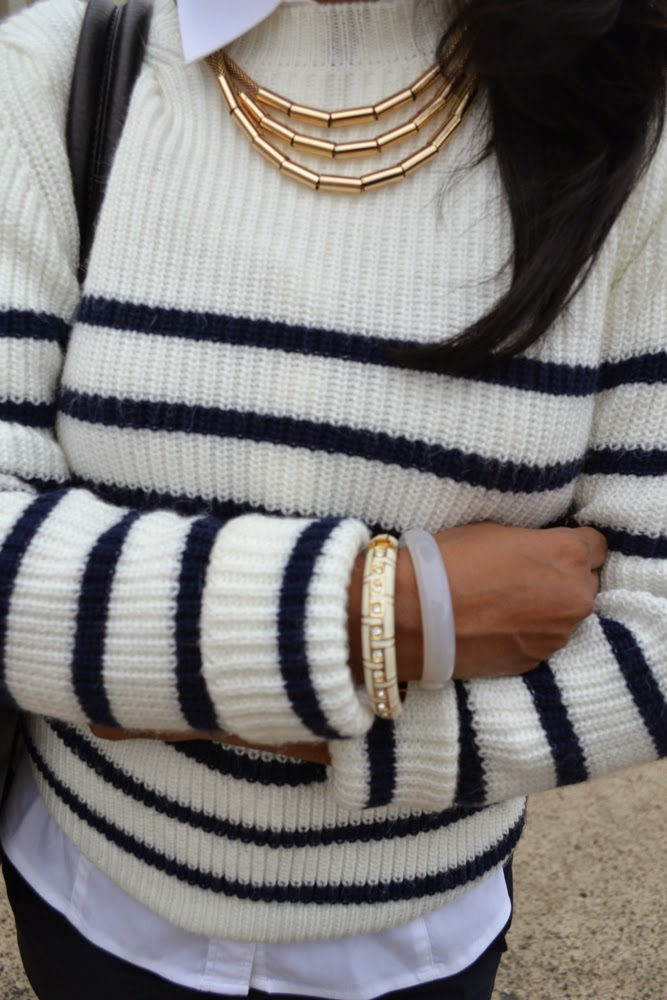 gold bangles gold necklace stripe sweater