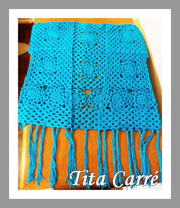 Colete Glamour anil em crochet