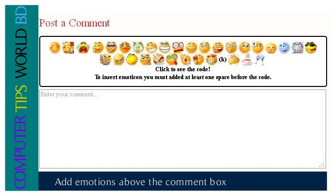 add emotions box above the comment box