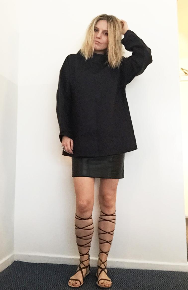 Fashion Over Reason, linen tunic, high Zara high top gladiators