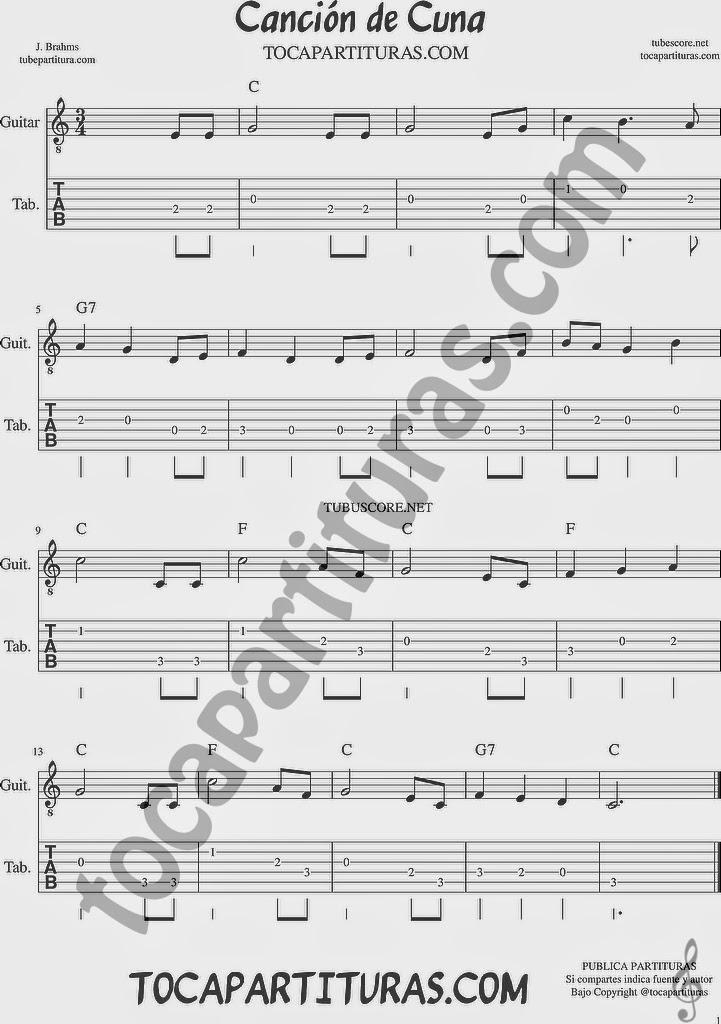 Tubepartitura Canción de Cuna de Brahms Tablatura y Punteo de Guitarra con Acordes Canción de Música Clásica
