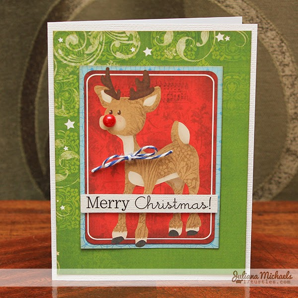 Tis The Season Rudolph Christmas Card by Juliana Michaels
