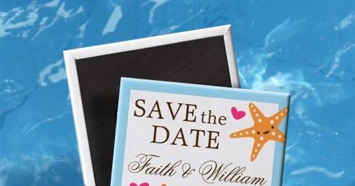 i Feature U Cute kawaii starfish beach wedding Save the Date Magnet – Beach Wedding Save the Date Magnets