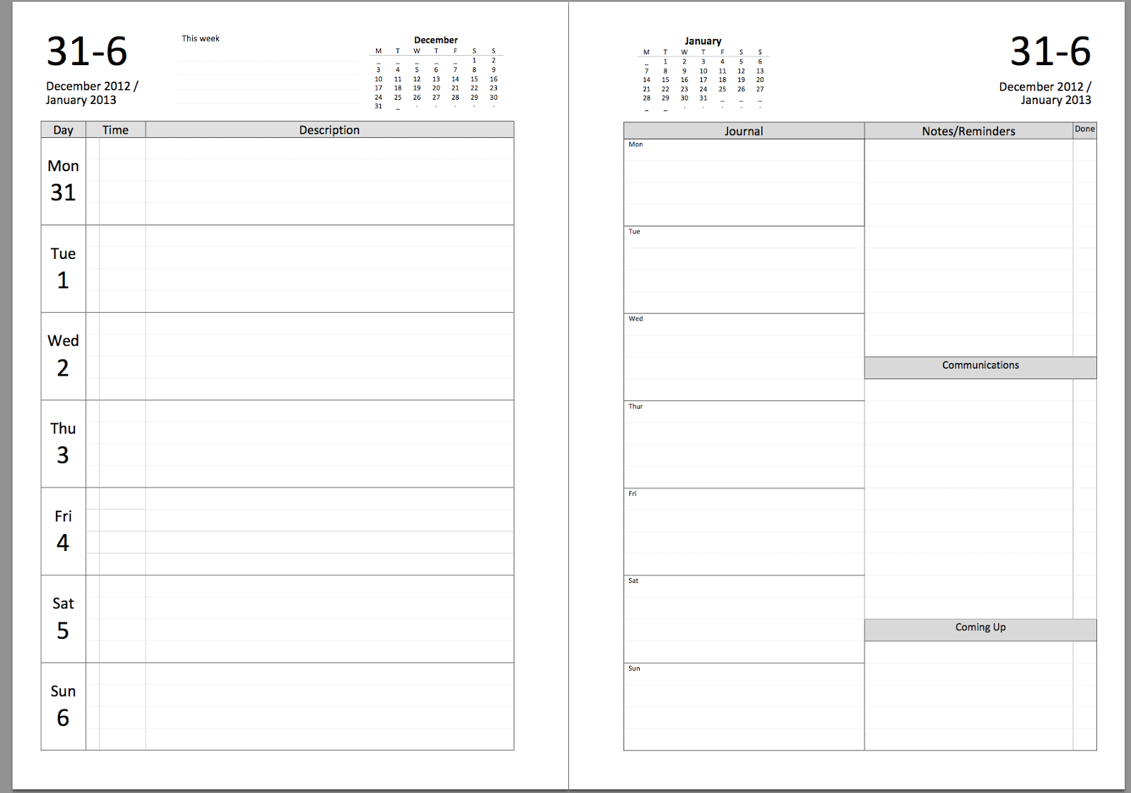 My Life All in One Place: New Filofax diary layout to download ...