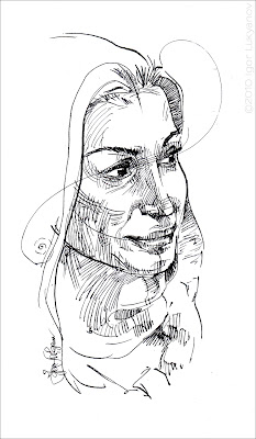 quick female face sketch drawing (pen & ink)