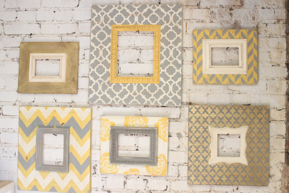this mod glam nursery set of distressed picture frames is amazingly beautiful i really love the canary gold gray and vintage white together - Distressed Picture Frames