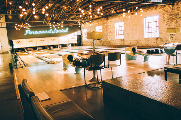 bowling lanes at Pinewood Social in Nashville Tennessee