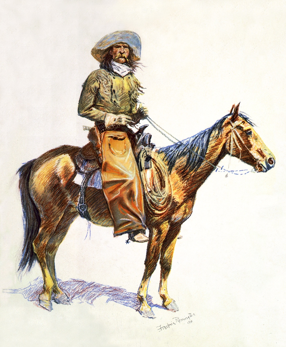 A mounted cowboy wearing stout leather chaps
