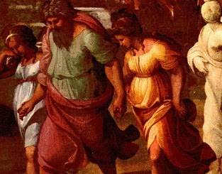 Lot leaving Sodom Raphael detail.