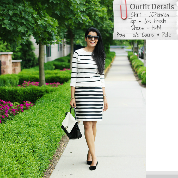 Striped Pencil Skirt, Black And White Stripe Skirt, Stripes On Stripes Outfits