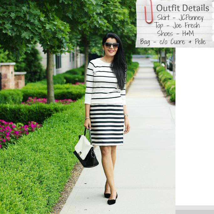 Striped Pencil Skirt, Black And White Stripe Skirt, Stripes On Stripes Outfits