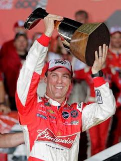 Kevin Harvick holds NASCAR Sprint Cup Trophy