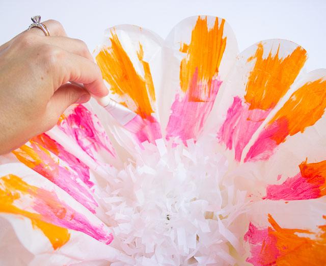 Brushstroke painted tissue paper pom poms