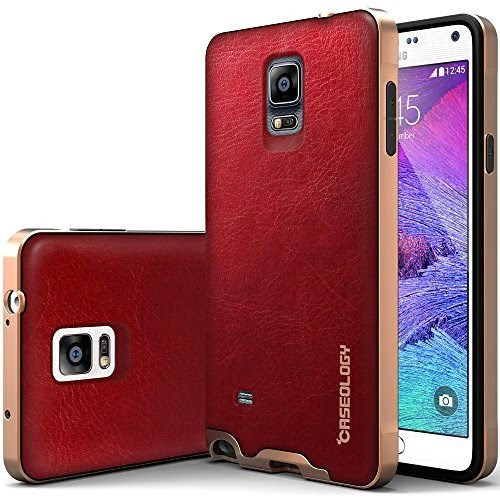Caseology [Bumper Frame] Samsung Galaxy Note 4 Case [Leather Burgundy Red]