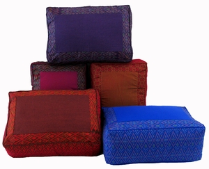 colorful tibetan meditation cushions
