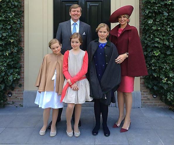 King Willem-Alexander, Queen Maxima and their daughters Princess Amalia, Princess Alexia and Princess Ariane, Prince Bernhard, Princess Annette, Prince Constantijn, Princess Laurentien, Prince Pieter-Christiaan, Princess Anita, Prince Maurits and Princess Marilene