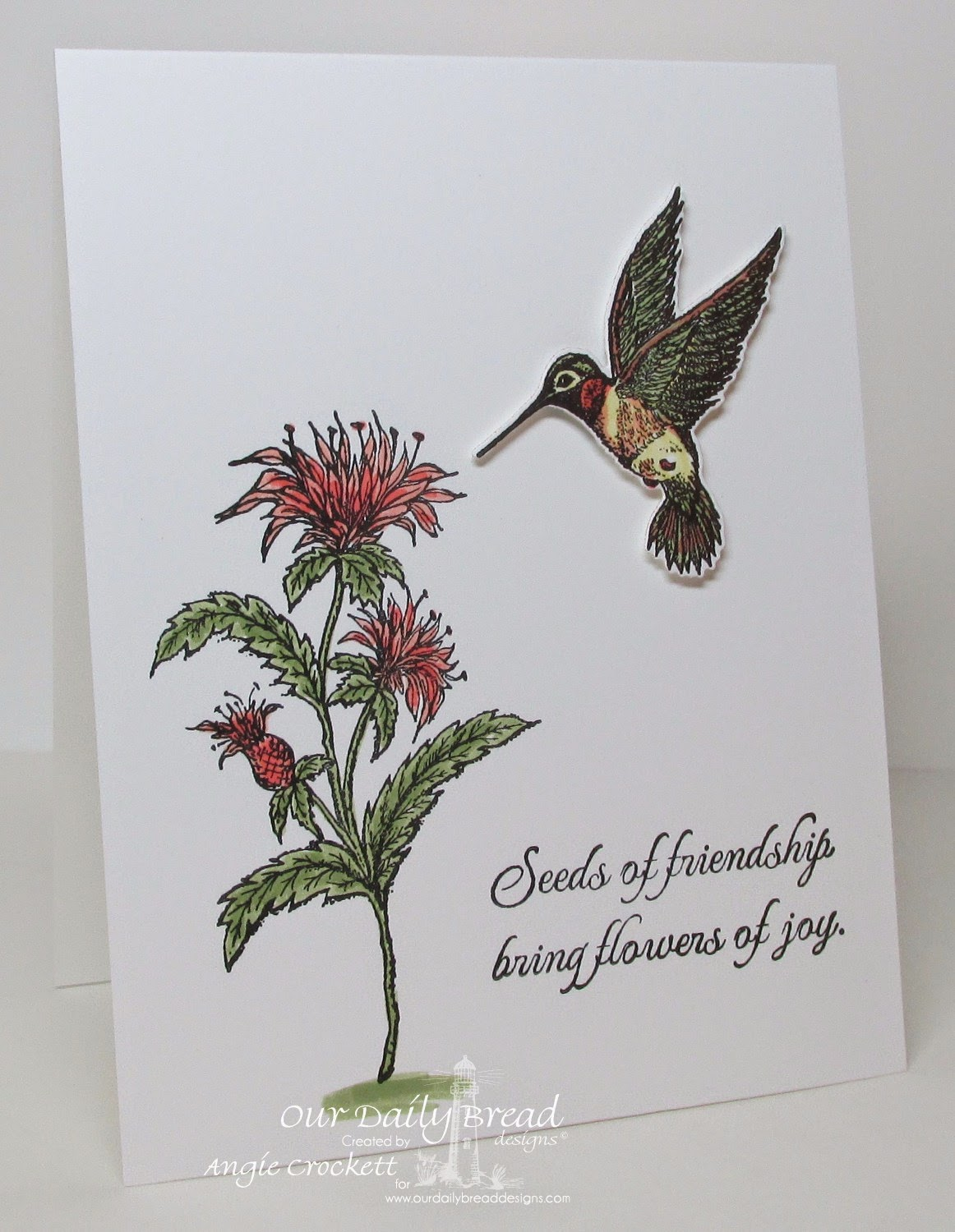 ODBD Hummingbird and Custom Die, Bee Balm, The Good Seed, Card Designer Angie Crockett