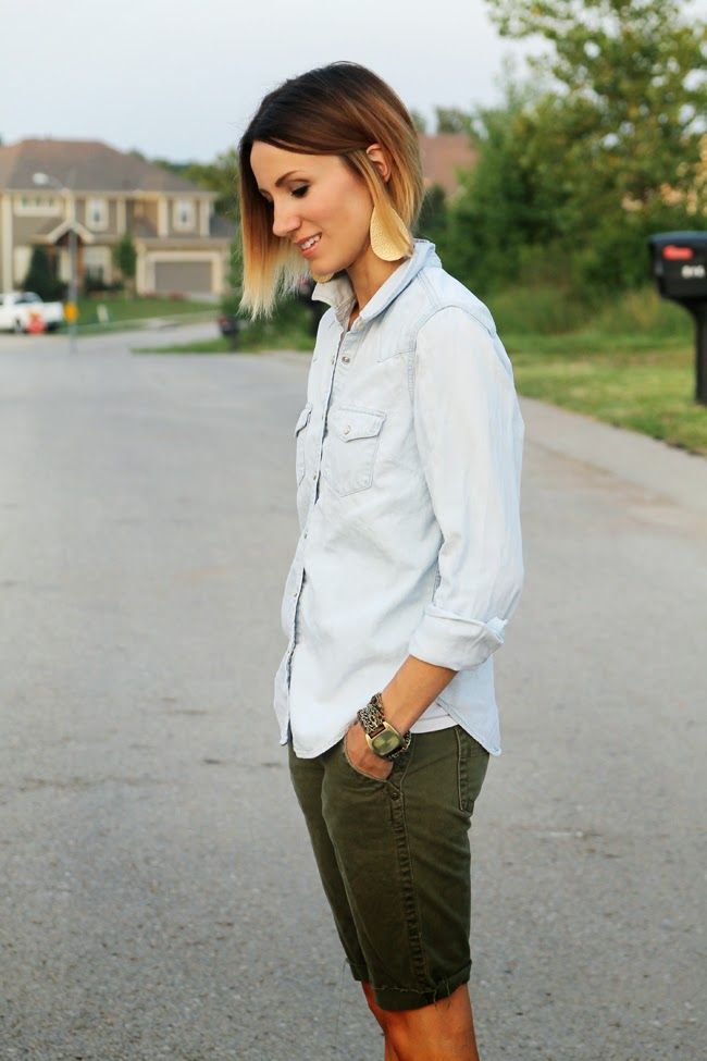 Light denim shirt, olive cut offs, short ombre hair