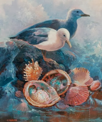 "#0025 ""Gulls and Shells"" 20"" x 16"""